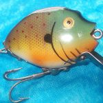 Vintage Antique Heddon Punkinseed Fishing Lure Gold Eyes Tackle Bait Exc Cond