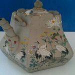 Antique Japanese BANKO WARE Enameled Teapot, Pentagonal, Signed Meiji Period