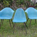 VINTAGE Set of 3 Aqua FIBERGLASS Mid Century Eames Era ARMCHAIR Shell CHAIR