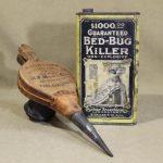 Antique Insecticide Guaranteed Bed Bug Killer Tin Can & Woodason Powder Bellows
