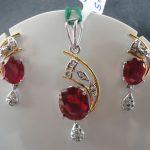 0.27 ct Natural Full Cut Diamond Dangle Ruby Pendant Earring Set Antique