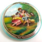 Beautiful Antique/Vintage Silver & Enamelled Circular Compact  NO RESERVE