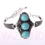 Women Fashion Watch Tibet Silver Chain Blue Turquoise Antique Bracelet Cuff s4