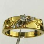 Antique Vintage .00ctw 6pt Ctr Natural Diamond 14k Y Gold Engagement Ring 3.7g