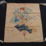 36751# Japanese KIMONO SILK / ANTIQUE RARE FUKUSA / HAND PAINT YUZEN EMBROIDER