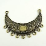 56413mm Antique style bronze tone moon shaped necklace connector charms 8pcs