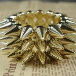 Hot Ladies Antique Cute Gothic Punk Studs Spike Rivet Bracelet Elasticity Gold