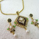 Antique Gold Polish Purple Green Stone Faux Pearl Pendent Set