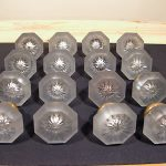 16 ANTIQUE 8 SIDED GLASS/CRYSTAL DOOR KNOBS, SET OF 8 IDENTICAL RARE DOOR KNOBS