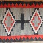LARGE  8′ Antique 1900  Navajo Indian Rug   Santa Fe Estate