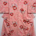 37900# Japanese KIMONO SILK / ANTIQUE MEISEN KIMONO / WOVEN FLOWER