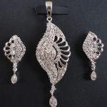 Simulated White CZ Diamond Pendant Earring Set Platinum Finish Antique 0F 24