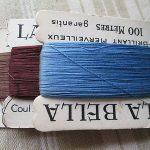 """Antique card  embroidery threads"""" La Bella"""" brillant Merveilleux 100 Métres"""