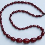 ANTIQUE 1930's Art Deco Red Amber Bakelite Bead Necklace 46gms