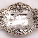SOLID STERLING SILVERBon Bon NUT DISH Candy MINT BOWLPIN TRAYANTIQUE REPOUSSE