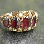 1891 Old Victorian 9ct 375 Gold Rubies White Pearls Engagement Ring Antique
