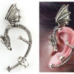 1 PC  Vintage Wind Temptation Antique silver Gothic Dragons Cuff Stud Earring054