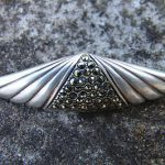 Antique Sterling Silver Brooch with Silver Colored Stones
