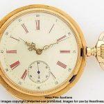 18k Gold Fancy Dial Mugnier Antique Quarter Repeater 53mm Working Pocket Watch