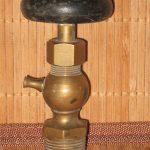 ANTIQUE BRASS STEAM ENGINE HIT & MISS WATER VALVE WITH WOOD HANDLE