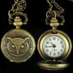 1pcs Nice Antique Style Owl Pendant Pocket Watch Necklace,Q1