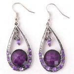 Fashion Vintage&Antique Style Crystal&Resin Tear Drop Dangle Earrings Jewelry