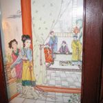 Antique Chinese painting on porcelain plaque interior scene perfect