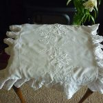 ANTIQUE WHITE IRISH LINEN EMBROIDERY, OPENWORK CUSHION COVER IN VGC