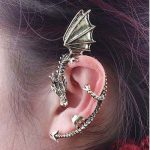 Vintage Wind Temptation Antique Bronze Gothic Dragons Cuff  Stud Earring Ear
