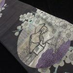 30965# Japanese KIMONO SILK / ANTIQUE CHUYA OBI BLACK / WOVEN SCENERY