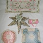 VINTAGE ANTIQUE EMBROIDERED CROCHET LACE PIN CUSHION LOT OF 5