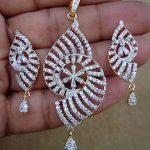 Simulated White CZ Diamond Dangle Pendant Earring Set Gold Plated Antique 0F 61