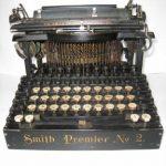 Antique Smith Premier No. 2 Typewriter w/ Metal Case Double Keys BR&P Railroad