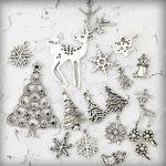 16 Antique Silver Christmas Tree Snowflake Sock Animal Deer Charm Pendant TS0620