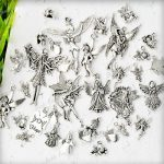 19pcs Mixed Antique Silver Dancing Angel Fairy With Wing Charm Pendant TS0621