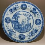 FINE CHINESE QING KANGXI BLUE AND WHITE ANTIQUE CHARGER 32.5CM