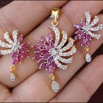 Simulated CZ Diamond Dangle Ruby Pendant Earring Set Gold Plated Antique L60