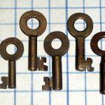 Vintage Antique brass barrel skeleton keys W. Bohannan lot padlock lock bronze