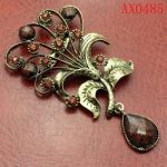 Magnificent Crystal Antique Bronze Brooch Free shipping AX0485