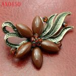 Exquisite Crystal Antique Bronze Flower Brooch Free shipping AX0450