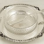 PTY ANTIQUE HALLMARKED STERLING SILVER BUTTER DISH & KNIFE 1927  188g