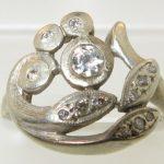 Antique Deco .10ctw Natural Round Cut Diamond 14k White Gold Floral Ring 3.5g