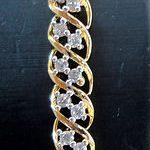 Simulated White CZ Diamond Cuff Bracelet Gold Plated Antique 0G 57