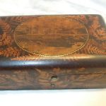 Fine Antique Fern Ware & Mauchline Ware Sewing Box or Jewellery/Trinket Box 1870