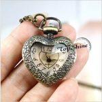 Peach Heart Style Steampunk Brass Necklace Pocket Watch  Chain Gift ON SALE