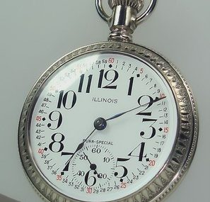 SCARCE NICE 1902 18S 24J BUNN SPECIAL illinois Pocket Watch STAG DETAILED Case