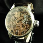 0mega Skeleton Antique 1937 Deco Watch MANSION Engraved