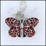 Cute Small Red Butterfly Pendant Watch For Gift GL36R