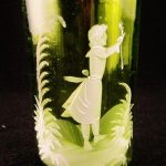 """Great Hand Painted Victorian Antique """"Mary Gregory"""" Enamel Tumbler"""