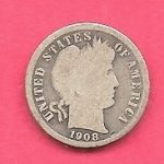US USA BARBER SILVER DIME ANTIQUE 1908 NICE OLD COIN